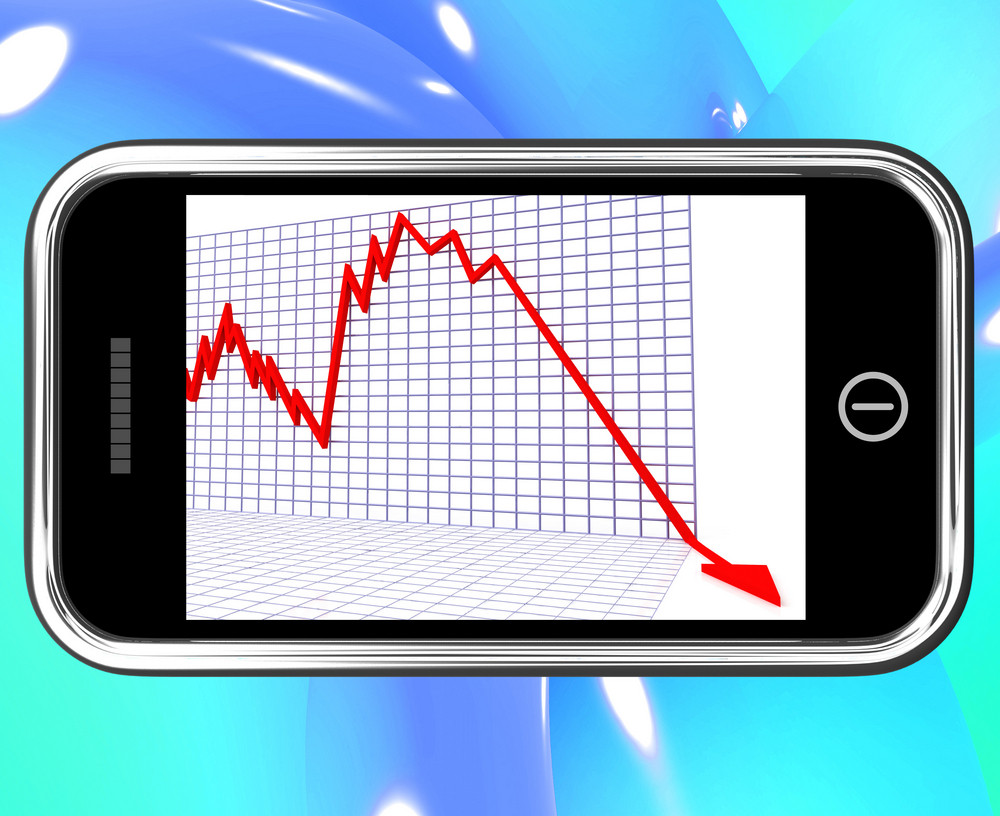 Arrow Falling On Smartphone Shows Risky Investments