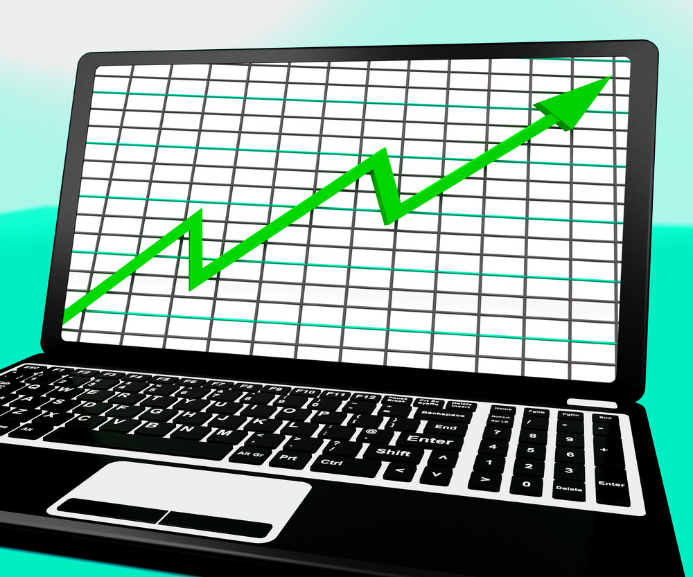 Arrow Going Up On Laptop Shows Statistics Reports