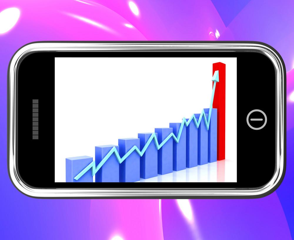 Arrow Rising On Smartphone Shows Progress Chart