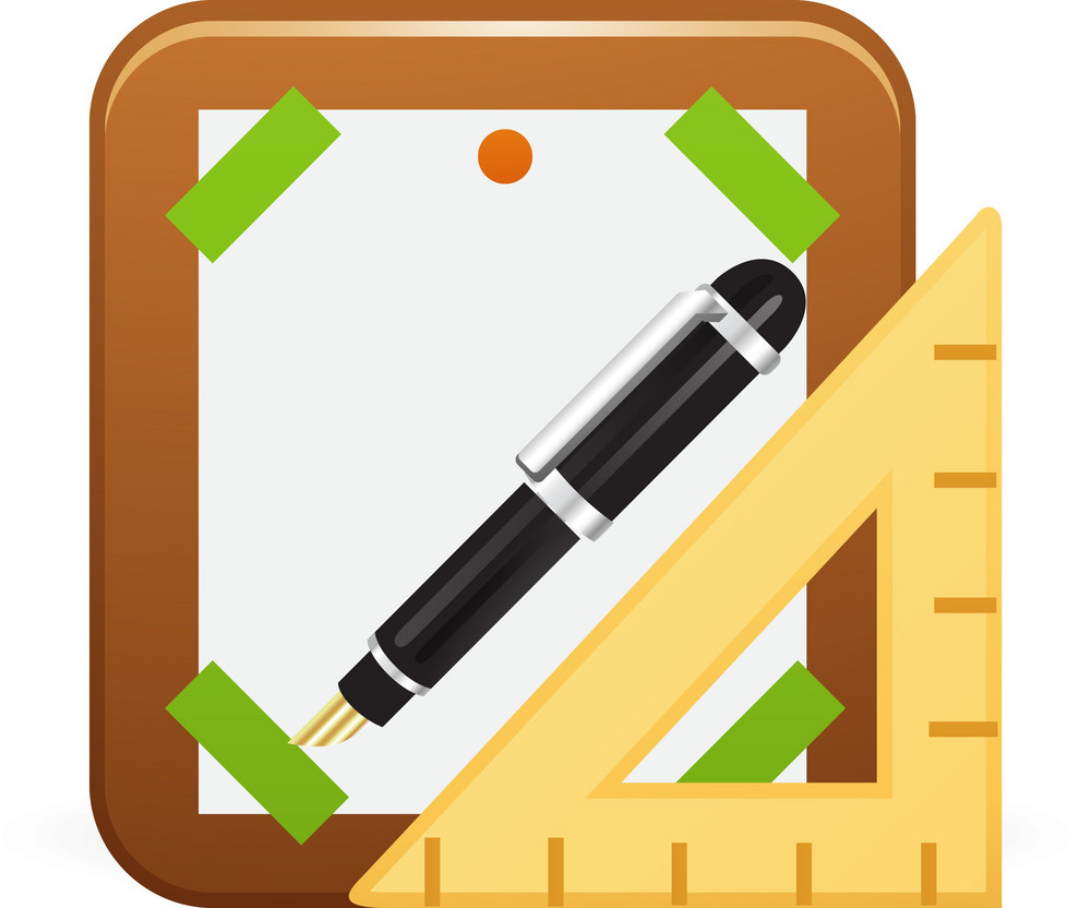 Artboard With Pen And Ruler Lite Art Icon