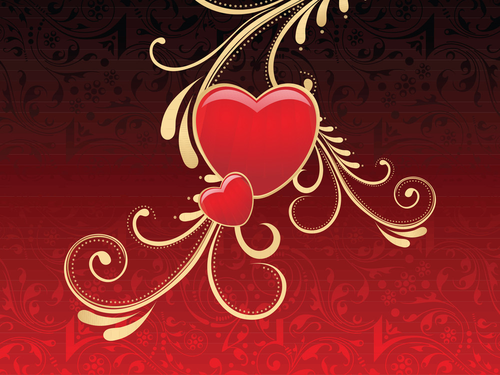 Artistic Background With Decorated Heart Shape