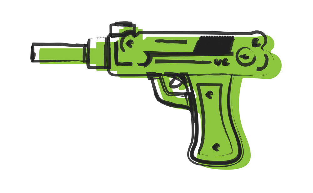 Artistic Gun Drawing Vector