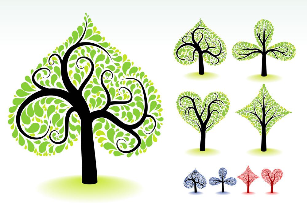 Artistic Ornamental Trees. Vector Design Elements.