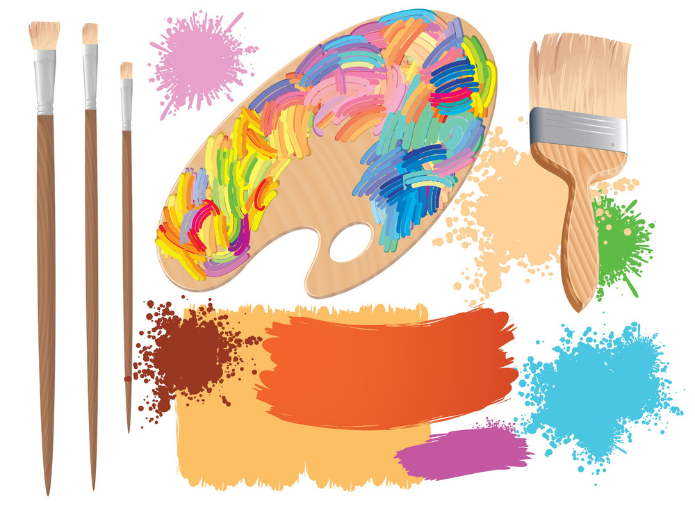 Artists Palette And Brushes. Vector.