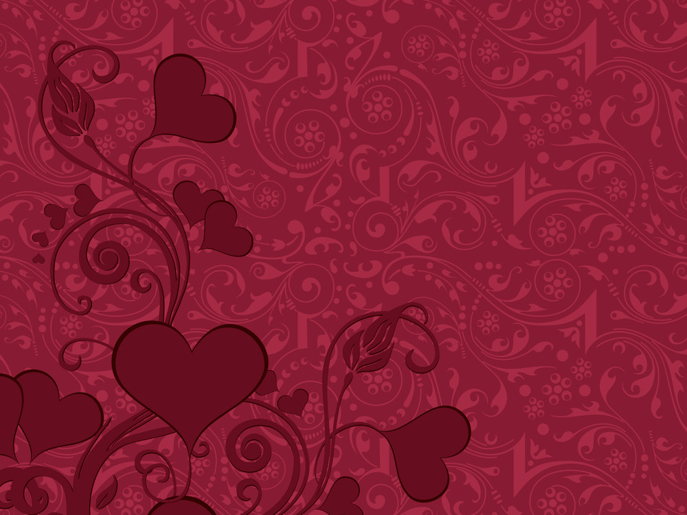 Artwork Background With Floral Heart