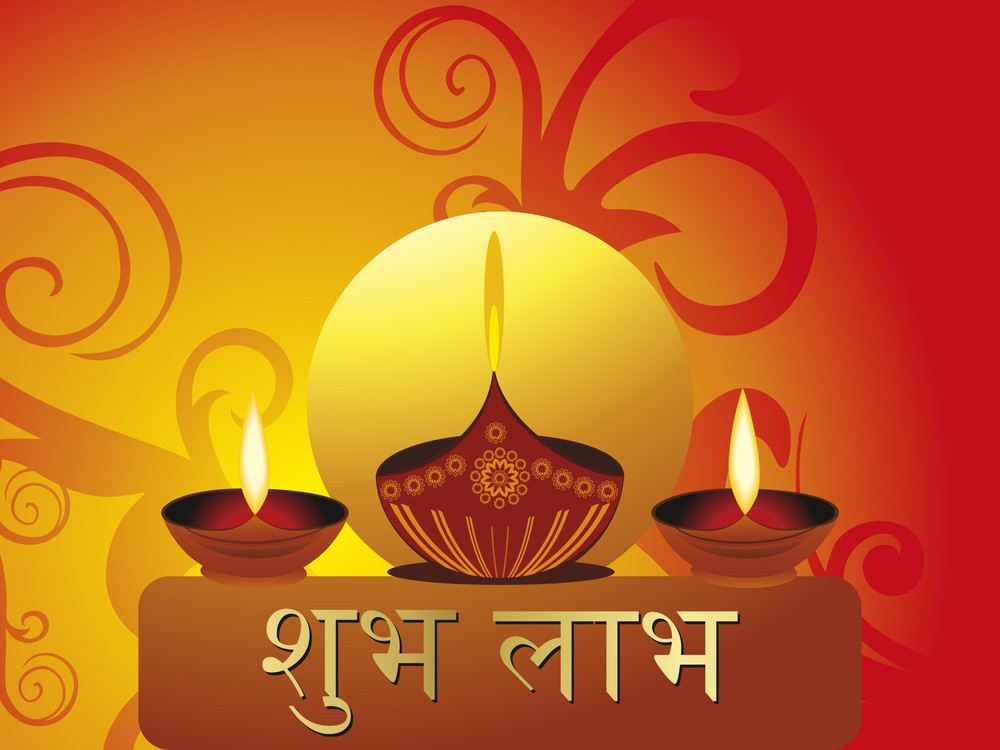 Artwork Background With Set Of Diya