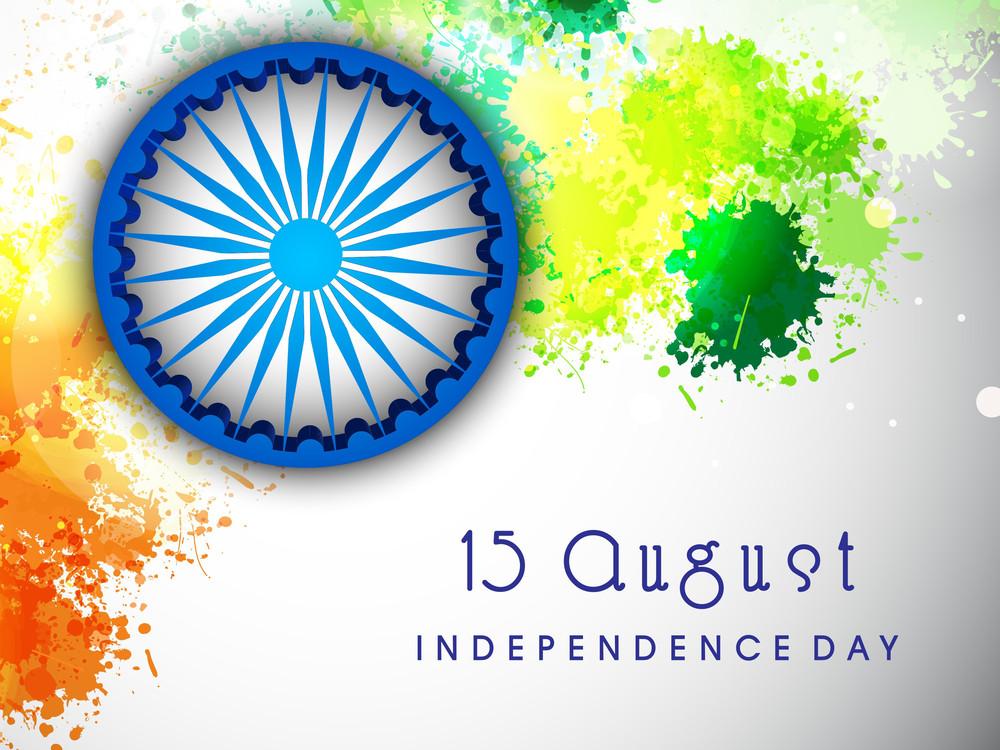 Ashoka Wheel On National Flag Colors
