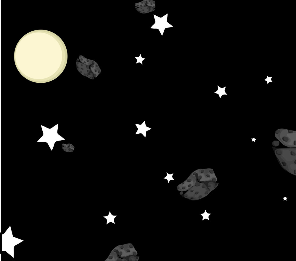 Asteroids In Moon Light Background