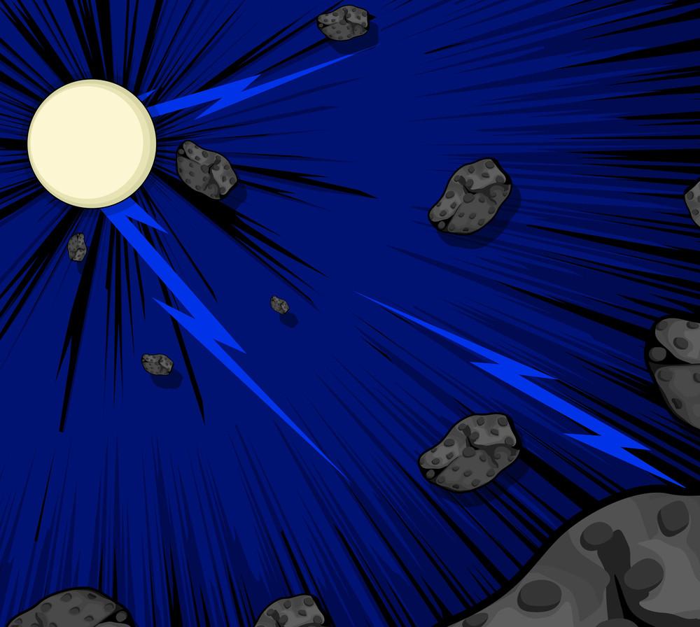 Asteroids Moonlight Backdrop Vector