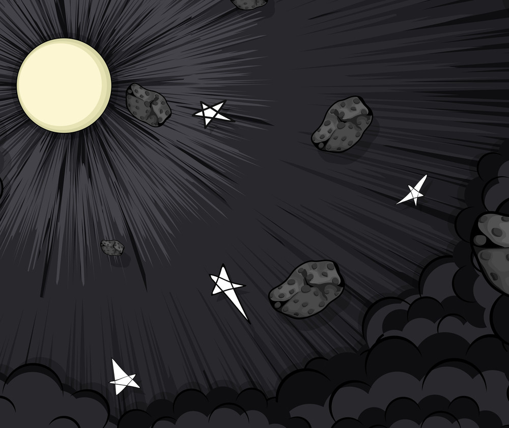 Asteroids Stars Moonlight Clouds Background