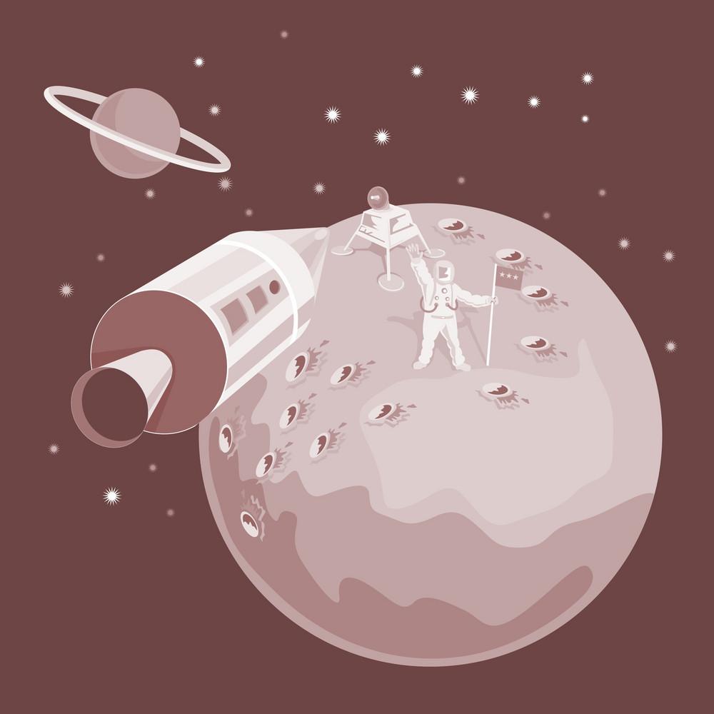 Astronaut Landing On Moon Retro
