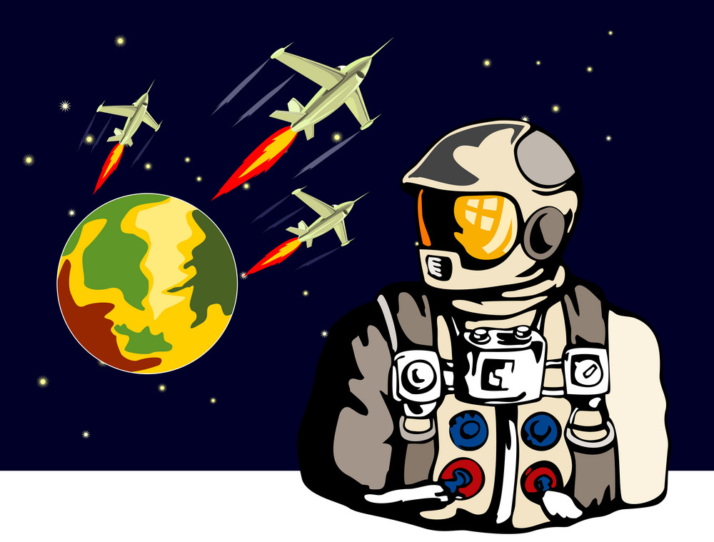 Astronaut Spaceships Retro