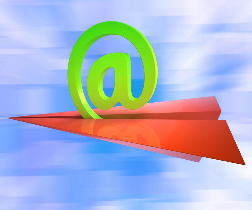 At Sign Aeroplane Shows E-mail Sending Post