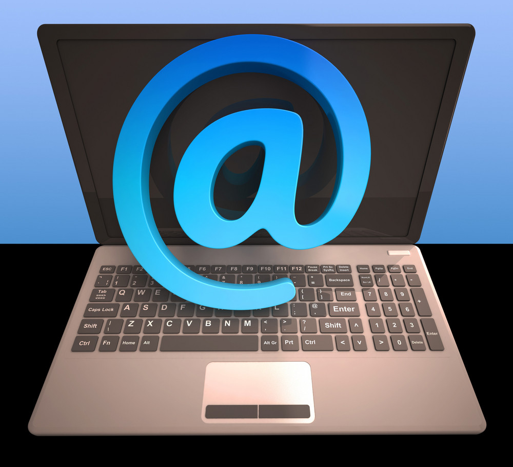 At Sign Laptop Shows Email On Web