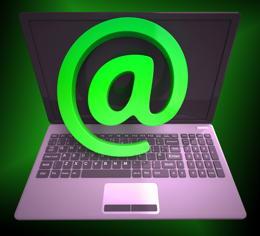 At Sign Laptop Shows Online Mailing Communication