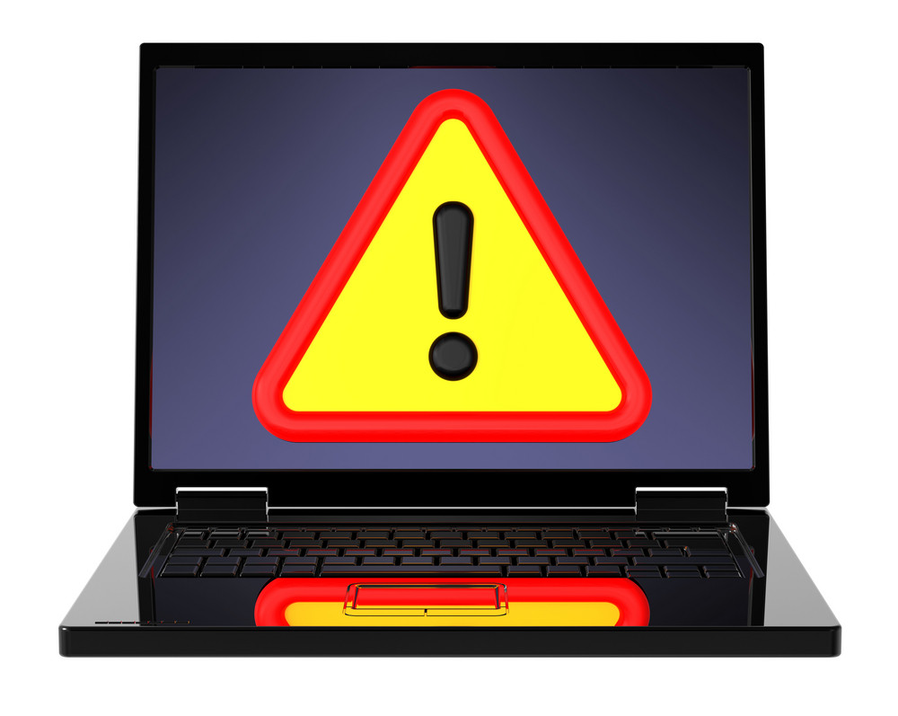 Attentions Sign On Laptop Screen.