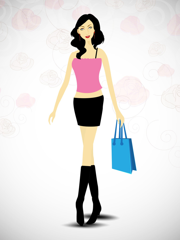 Attractive Fashionable Girl With Shopping Bag