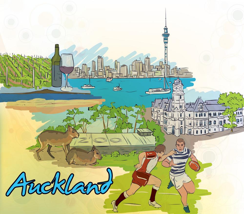 Auckland Doodles Vector Illustration