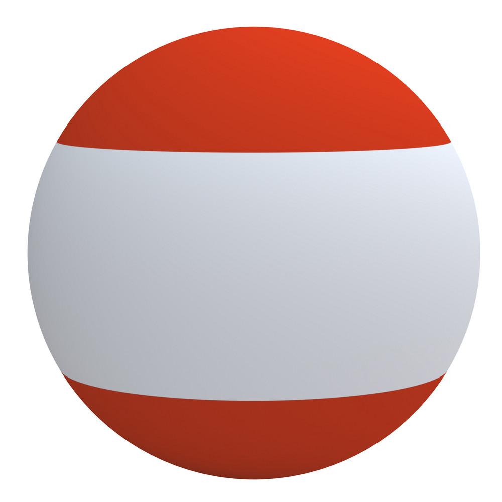 Austria Flag On The Ball Isolated On White.