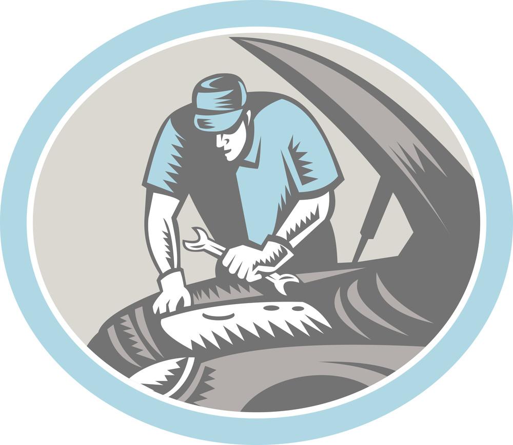 Auto Mechanic Car Repair Woodcut Retro