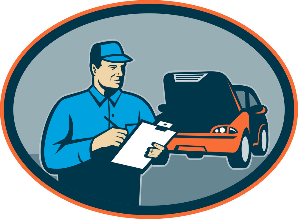 Automobile Car Repair Mechanic With Clipboard