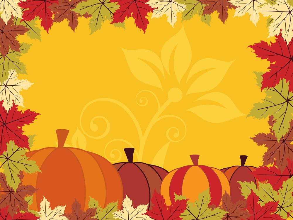 Autumn Backgorund With Pumpkin