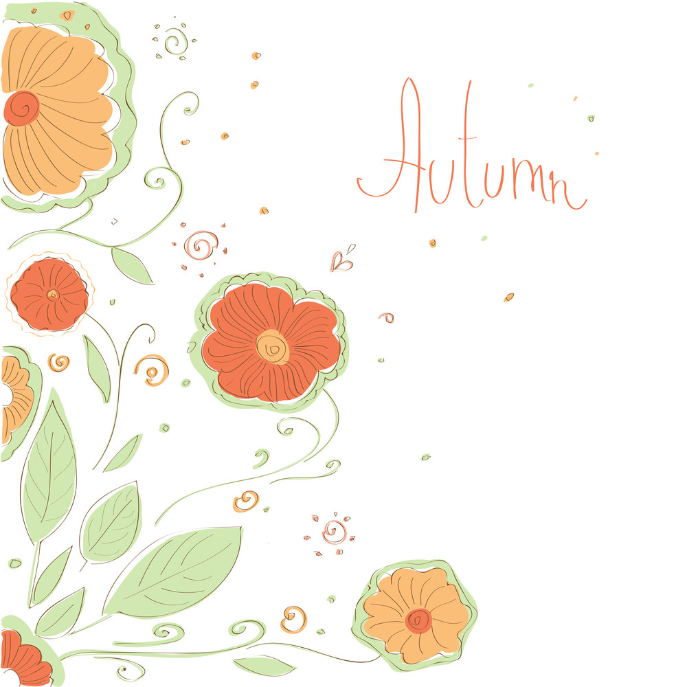 Autumn Floral Background.