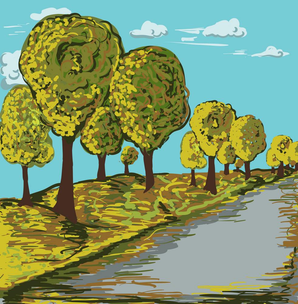 Autumn Landscape Vector Illustration