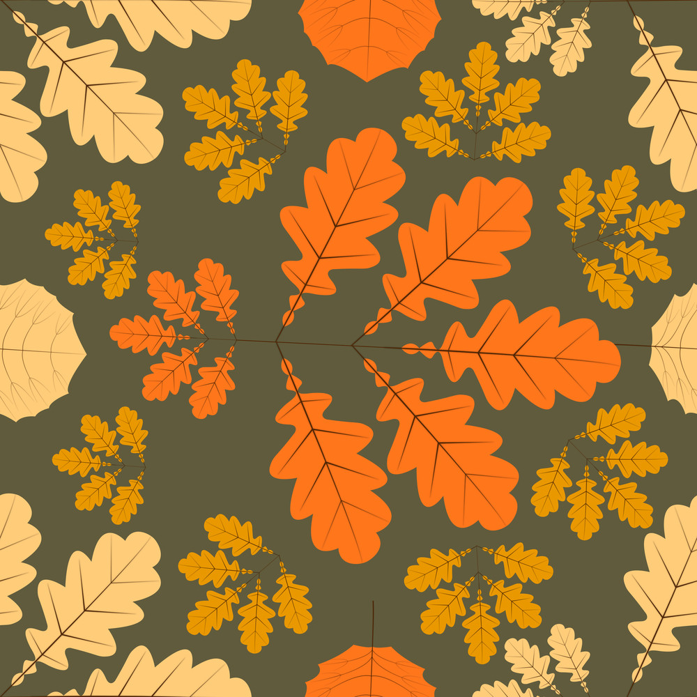 Autumn Leaves Seamless Background.