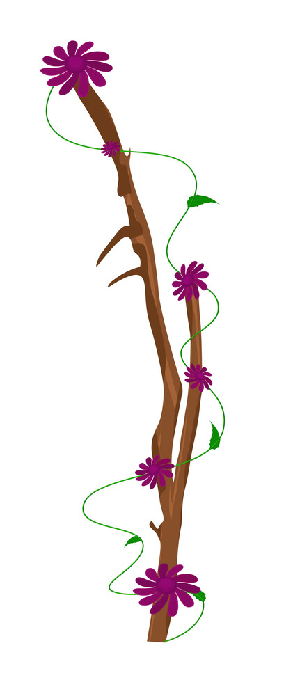 Autumn Nature Pink Flowers Branch Design