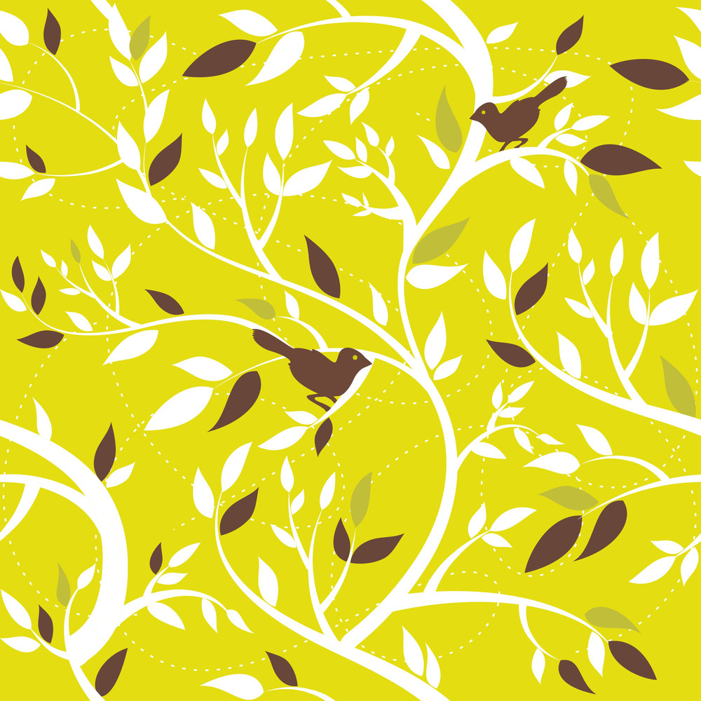 Autumn Seamless Pattern With Leaves And Birds