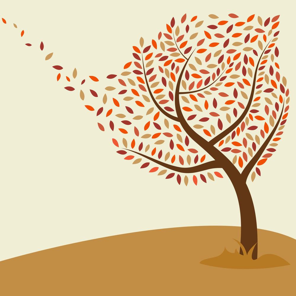 Autumn Tree On Nature Background