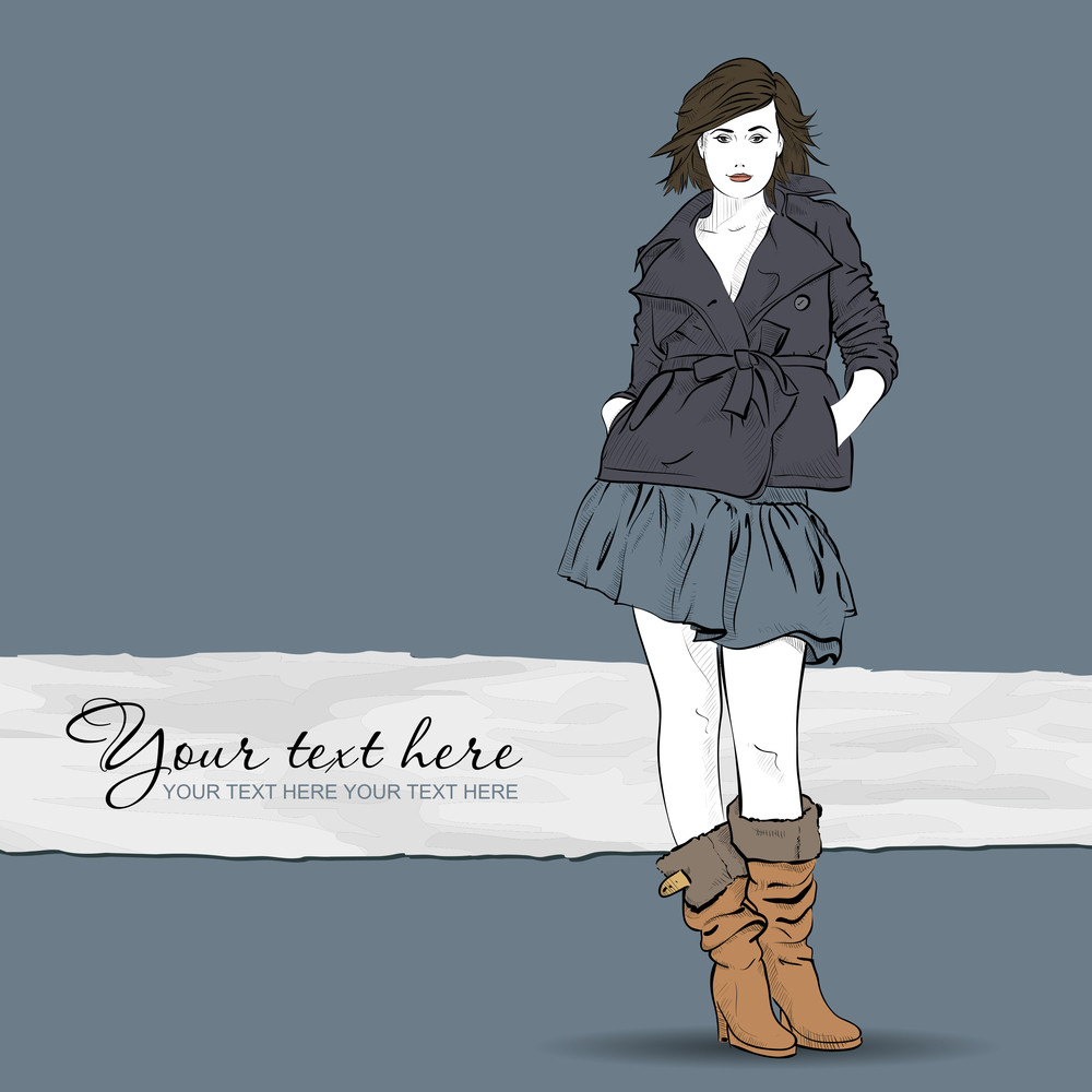 Autumnal Fashion Girl On A Grunge Background. Vector Illustrator.