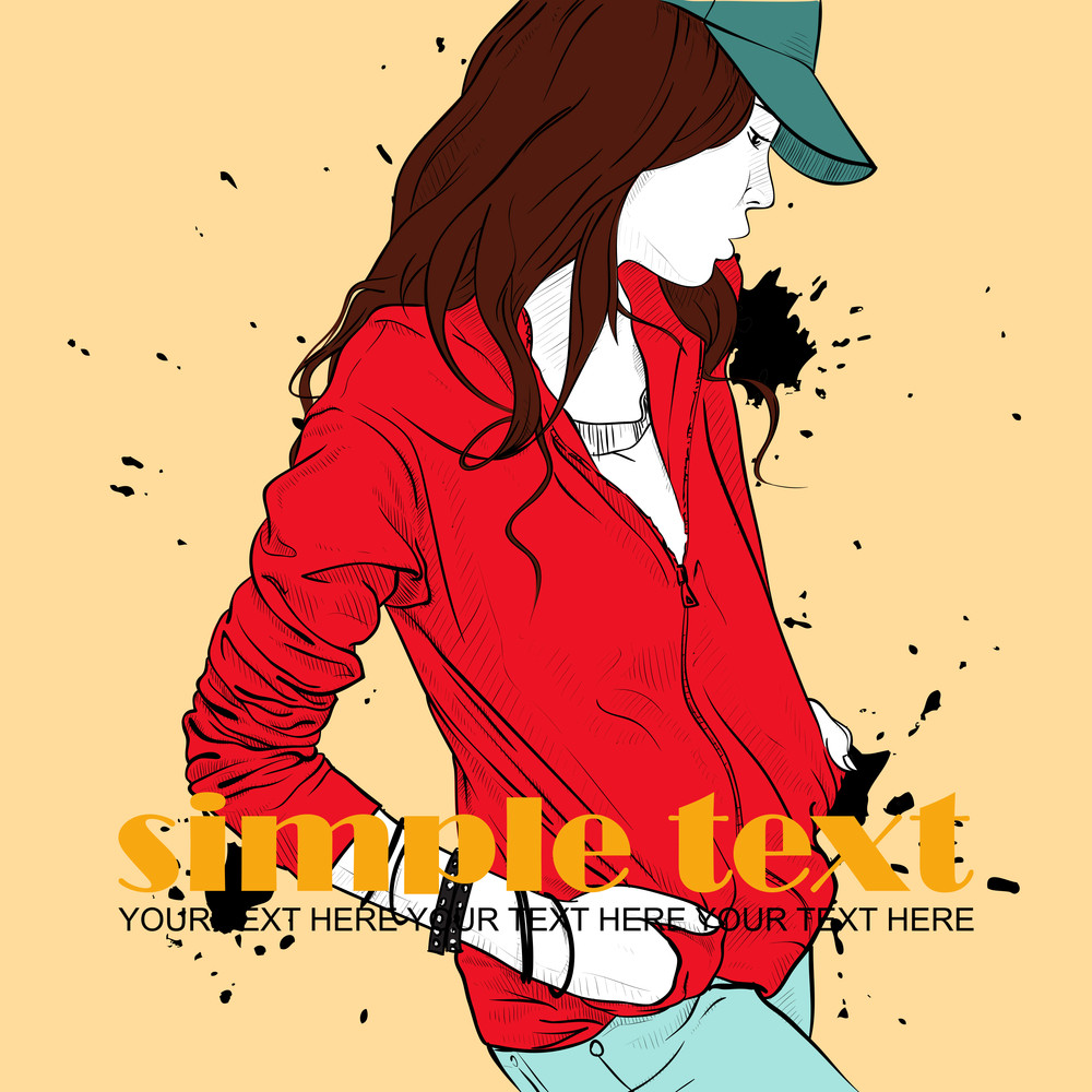 Autumnal Fashion Girl On A Grunge Background. Vector Illustrator.
