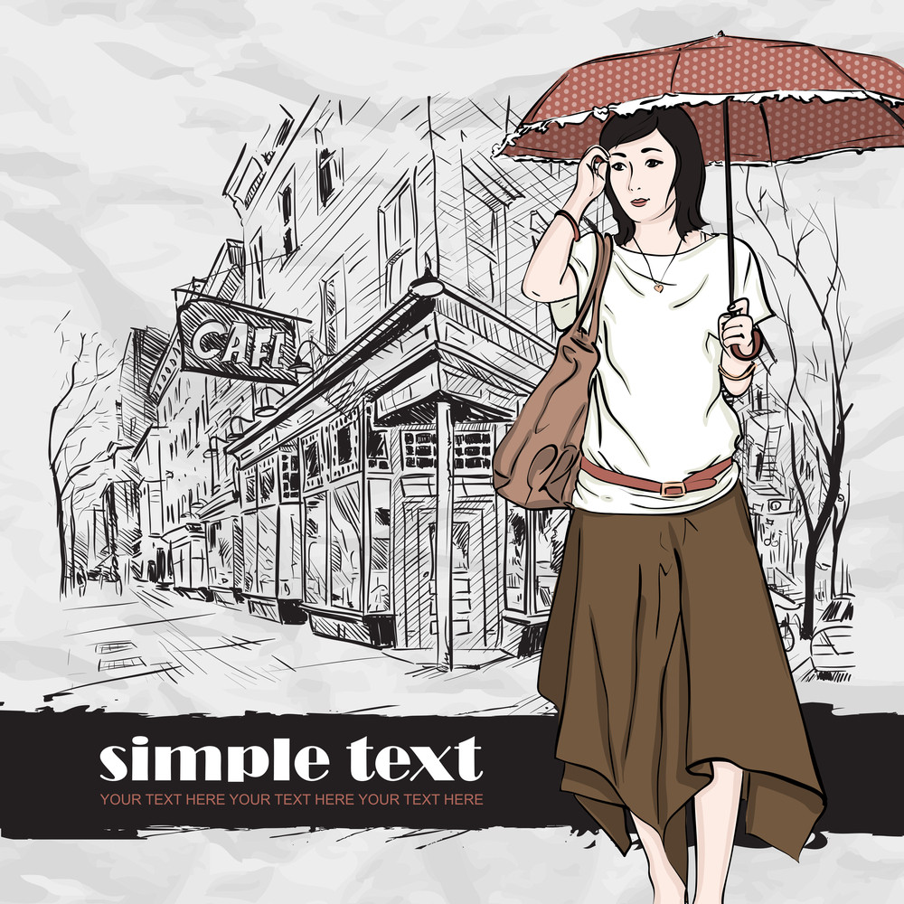 Autumnal Fashion Girl On A Street-cafe Background. Vector Illustrator.