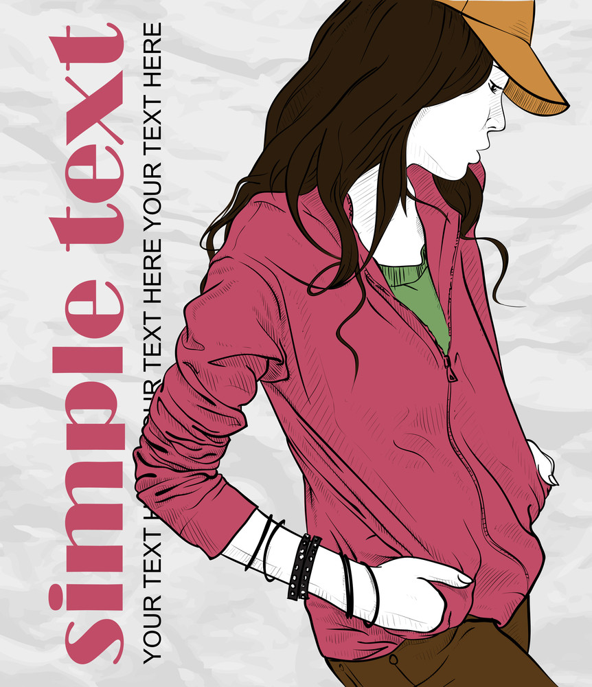 Autumnal Fashion Girl With Cap On A Grunge Background. Vector Illustrator.