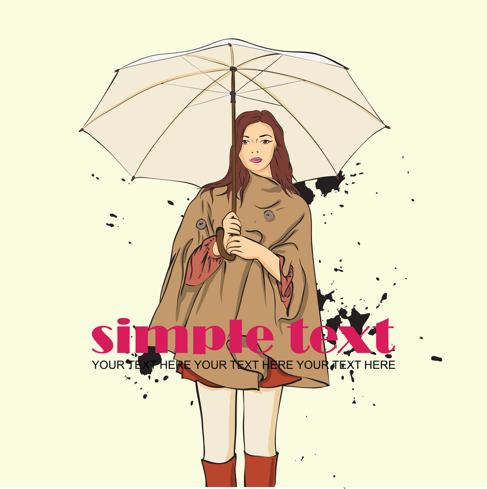Autumnal Fashion Girl With Umbrella On A Dirty Background. Vector Illustrator.
