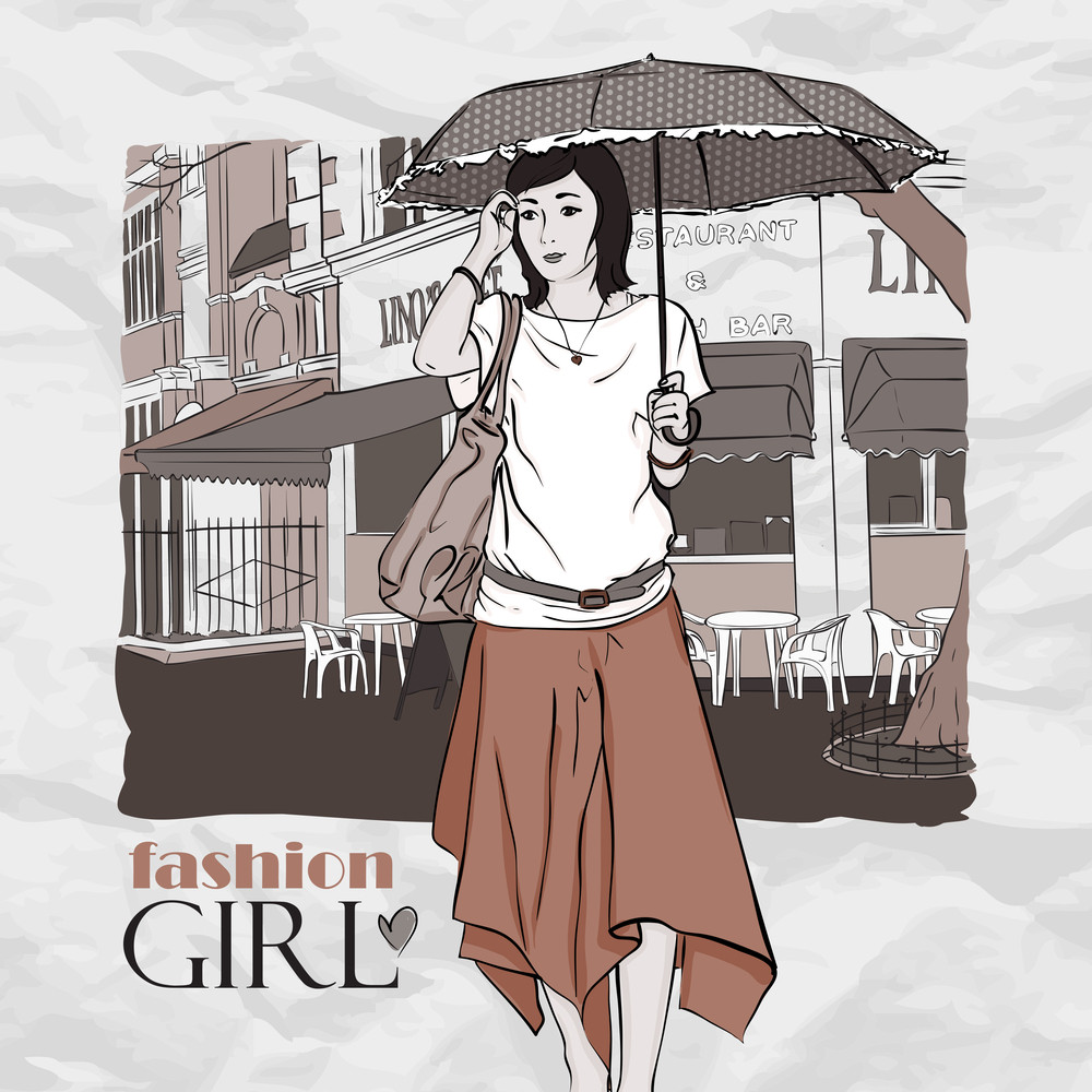 Autumnal Fashion Girl With Umbrella On A Street-cafe Background. Vector Illustrator.