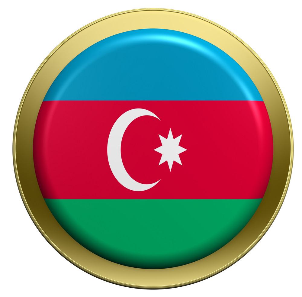 Azerbaijan Flag On The Round Button Isolated On White.