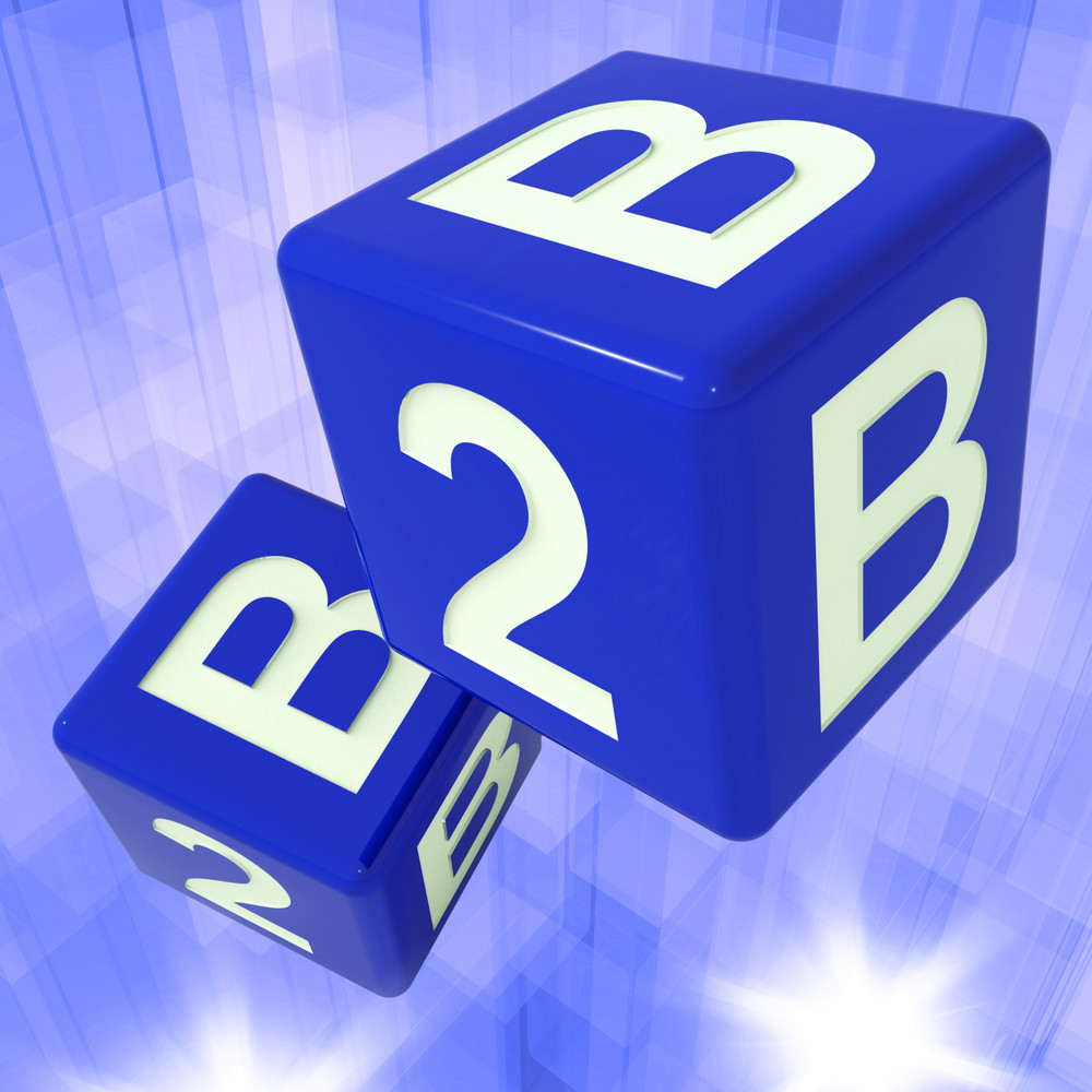 B2b Dice Background Showing Commercial Deals