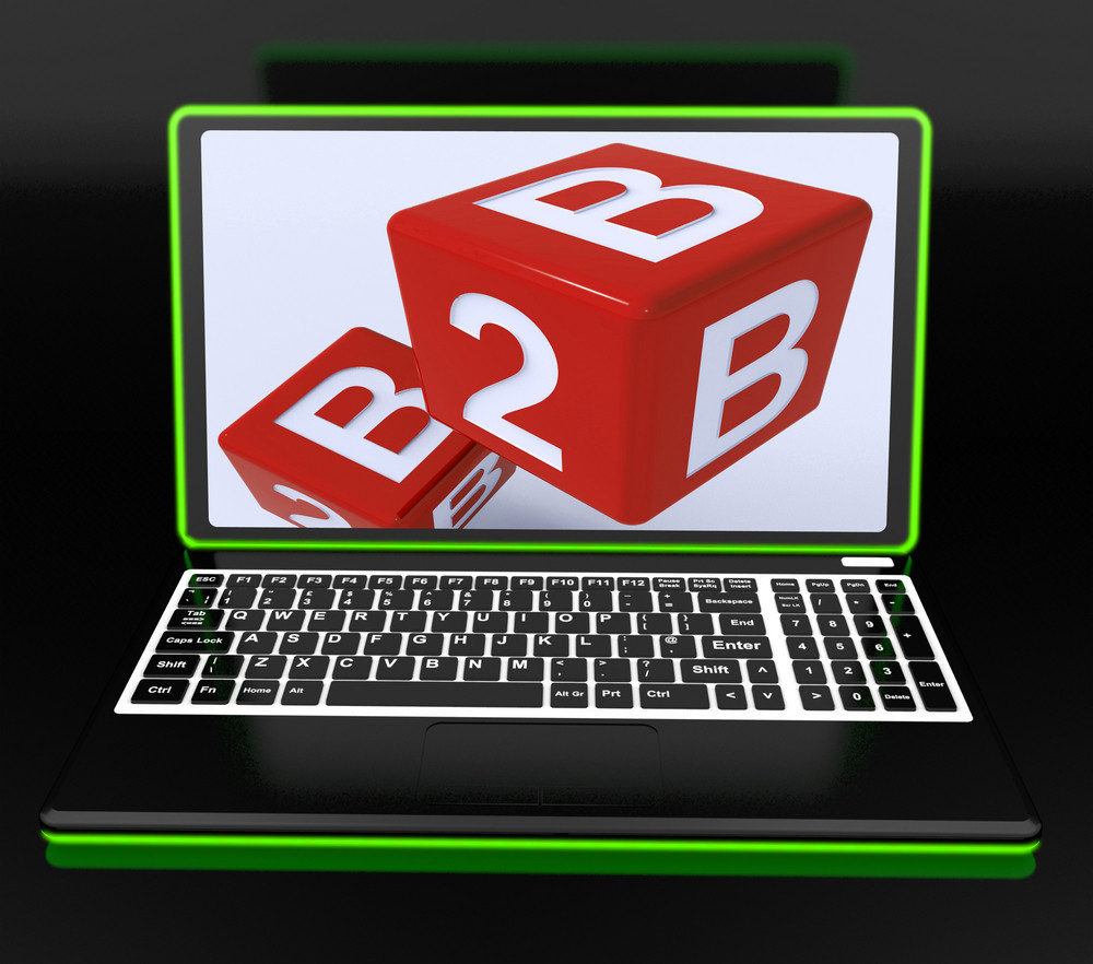 B2b Dices On Laptop Showing Online Commerce