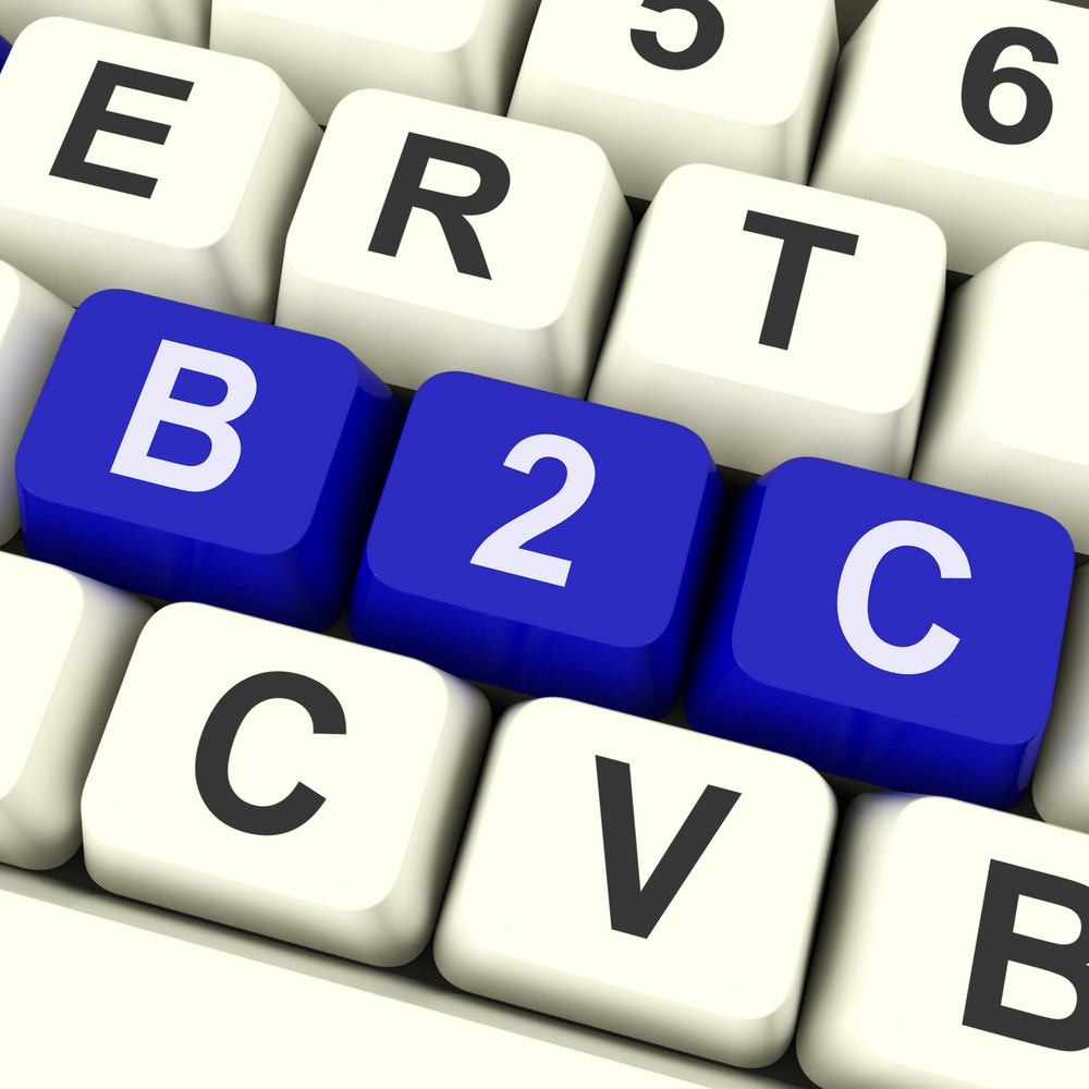 B2c Keys Show Business To Consumer Buy Or Sell