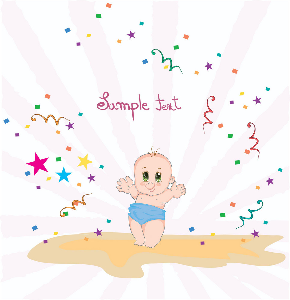 Baby With Rays Vector Illustration