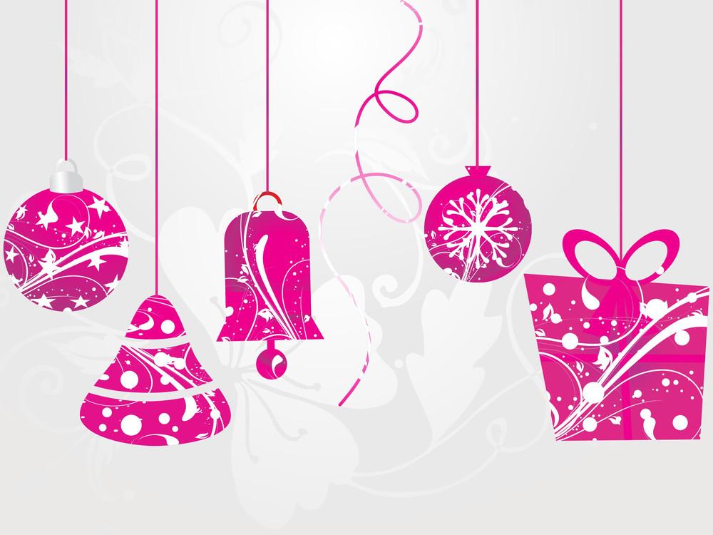 Bacground With Hanging Christmas Icons
