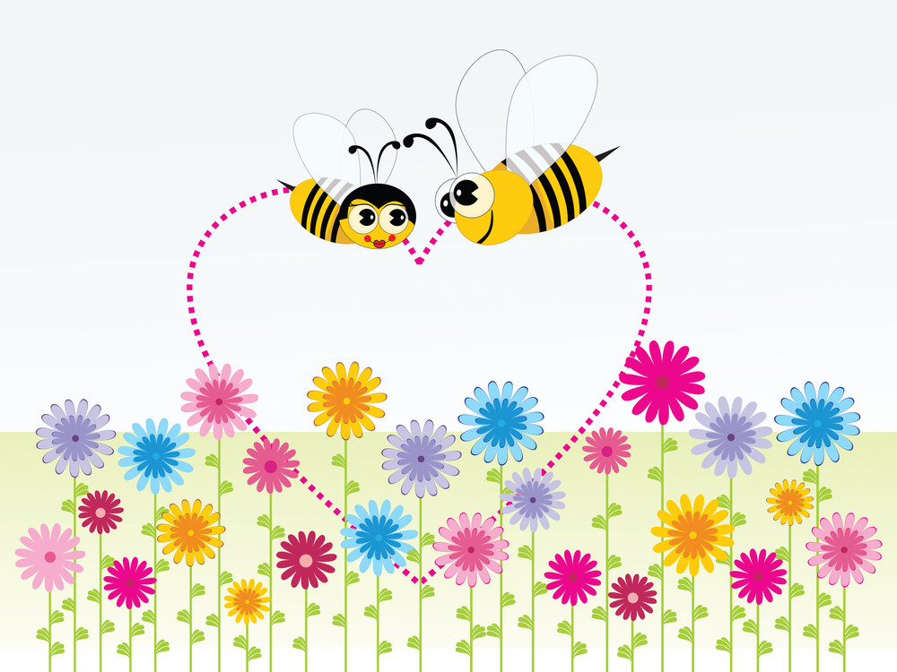 Background Honeybee With Heart Shape