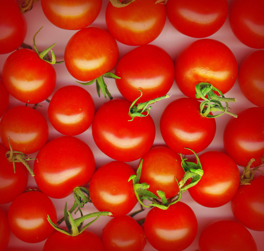 Background Made Of Red Cherry Tomatoes