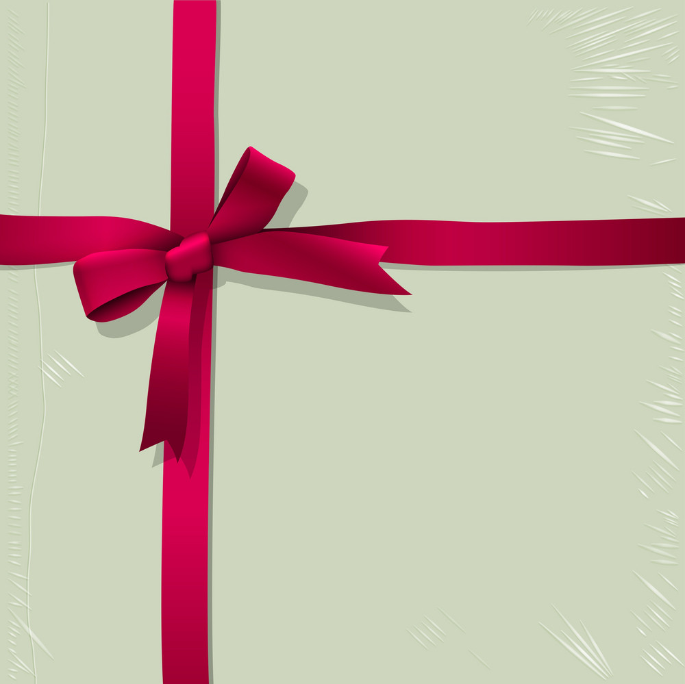 Background Of Box For Candy With Tied Pink Ribbon