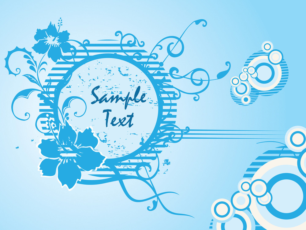 Background With Blue Floral Frame