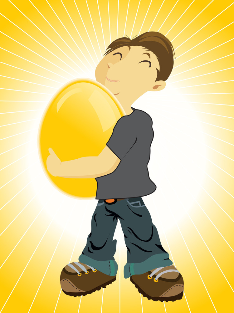 Background With Boy Holding Egg