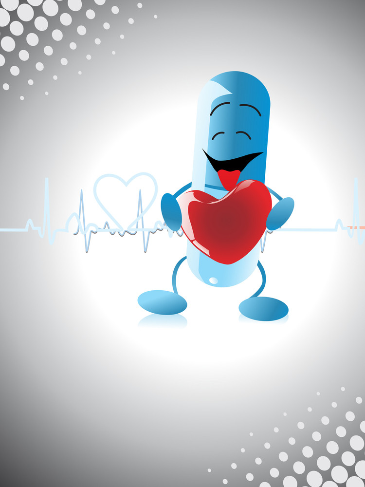 Background With Capsule Holding Heart